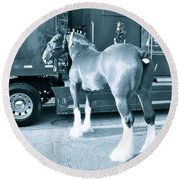 Clydesdale In Black And White Round Beach Towel