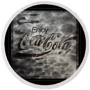 Coca Cola Sign Grungy Red Retro Style Round Beach Towel