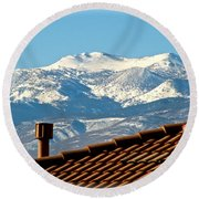 Cold Day New Snow Up There Round Beach Towel