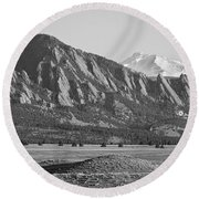 Colorado Rocky Mountains Flatirons With Snow Covered Twin Peaks Round Beach Towel