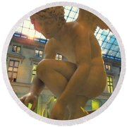 Cupid Playing With A Butterfly - Louvre Museum Paris Round Beach Towel