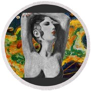 Cyprus Map And Aphrodite Round Beach Towel by Augusta Stylianou