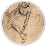 Dancer Adjusting Her Slipper Round Beach Towel
