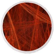 Dancing Flames 1 V - Panorama - Abstract - Fractal Art Round Beach Towel