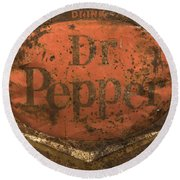 Dr Pepper Vintage Sign Round Beach Towel by Bob Christopher