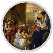 English Bulldog Art Canvas Print - The Garden Party Round Beach Towel