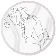 Erotic-line-drawings-23 Round Beach Towel