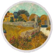 Farmhouse In Provence Round Beach Towel