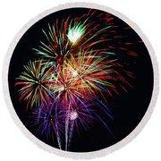Fireworks Across The Bay Round Beach Towel