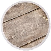 Flower Frame On On Wood Background Round Beach Towel