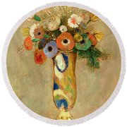 Flowers In A Painted Vase Round Beach Towel by Odilon Redon