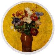 Flowers Round Beach Towel by Odilon Redon