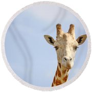 Friendly Giraffe Round Beach Towel