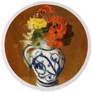 Geraniums And Other Flowers In A Stoneware Vase Round Beach Towel