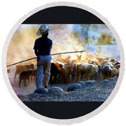 Herder Going Home In Mexico Round Beach Towel