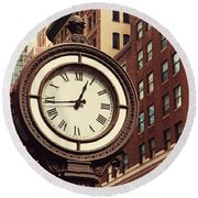 Historic Clock Of The Fifth Avenue Round Beach Towel