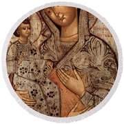 Icon Of The Blessed Virgin With Three Hands Round Beach Towel by Novgorod School