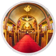 Interior Of  Holy Trinity Gre Round Beach Towel