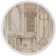 Islamic And Moorish Design For Shutters And Divans Round Beach Towel by Jean Francois Albanis de Beaumont