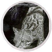 Jaguar Or Jacaranda  Round Beach Towel