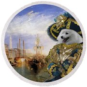 Japanese Spitz Art Canvas Print Round Beach Towel