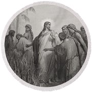 Jesus And His Disciples In The Corn Field Round Beach Towel