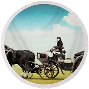 Journey Into The Past Round Beach Towel