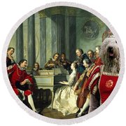 Komondor Art Canvas Print - Sextet Round Beach Towel