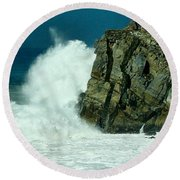 Lady Of Mugu Rock 1  Round Beach Towel