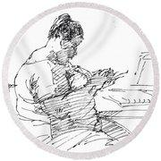Lady On Smartphone  Round Beach Towel