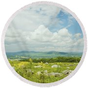 Large Blueberry Field With Mountains And Blue Sky In Maine Round Beach Towel by Keith Webber Jr