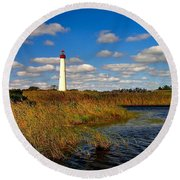 Lighthouse At The Water Round Beach Towel