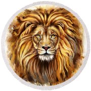 Lion Head In Front Round Beach Towel
