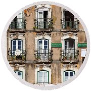 Lisbon - 18th Century Facade  Round Beach Towel