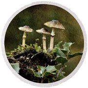 Little Mushrooms Round Beach Towel