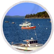 Maine Lobster Boat Round Beach Towel