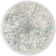 Map Of London And Environs Round Beach Towel
