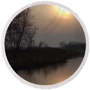 Marsh Sunrise Round Beach Towel