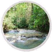 Mayfield Falls Jamaica Round Beach Towel