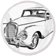 Mercedes Benz 300 Luxury Car Drawing Round Beach Towel