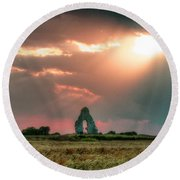 Midley Church Ruins At Sunset Round Beach Towel