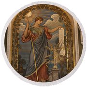 Minerva Of Peace Mosaic Round Beach Towel