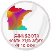 Minnesota State Map Collection 2 Round Beach Towel