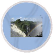 Mist And Rainbow At Victoria Falls Round Beach Towel