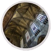 Narbonne Cathedral Round Beach Towel