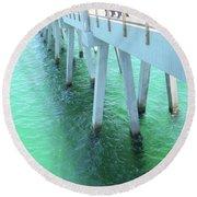 Navarre Beach Fishing Pier Round Beach Towel