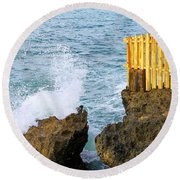 Negril Sea Splash Round Beach Towel