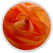 Orange Swirls Rose Flower Round Beach Towel