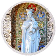 Our Lady Of Perpetual Help Mary And Jesus Round Beach Towel