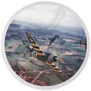 P47- D-day Train Busters Round Beach Towel